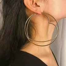 Large Gold Heart Shaped Hollow Hoop Style Fun Fashion 4 Inches Hoop Earr... - $17.82