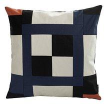 [Black Series] Handmade Canvas Decorative Pillow Unique Grid Cushion 48cm - $38.50