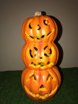 """Vintage Halloween 11"""" Pumpkin Stacker Table Decoration Battery Operated - $19.79"""