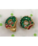 Christmas Wreath Green Enamel Vintage Gold Tone Clip On Earrings Gift - $5.36