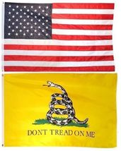 3x5 Usa American Flag & Gadsden Dont Tread On Me Embroidered 210D Premium Set - $70.00
