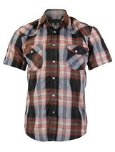 LW Men's Western Cowboy Pearl Snap Short Sleeve Rodeo Dress Shirt LW126S (Medium