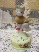 Fenton Glass Christmas Lights Cat On Font Limited Edition #2/2 Gift Shop Exclusi - $139.99