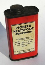 Vintage Pioneer Neatsfoot Compound Can Half Pint 1950s 60s Movie Prop Cl... - $9.80