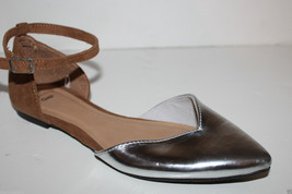 Gap NWT Faux Suede & Metallic Silver d'Orsay Flats w/ Ankle Strap - $31.99