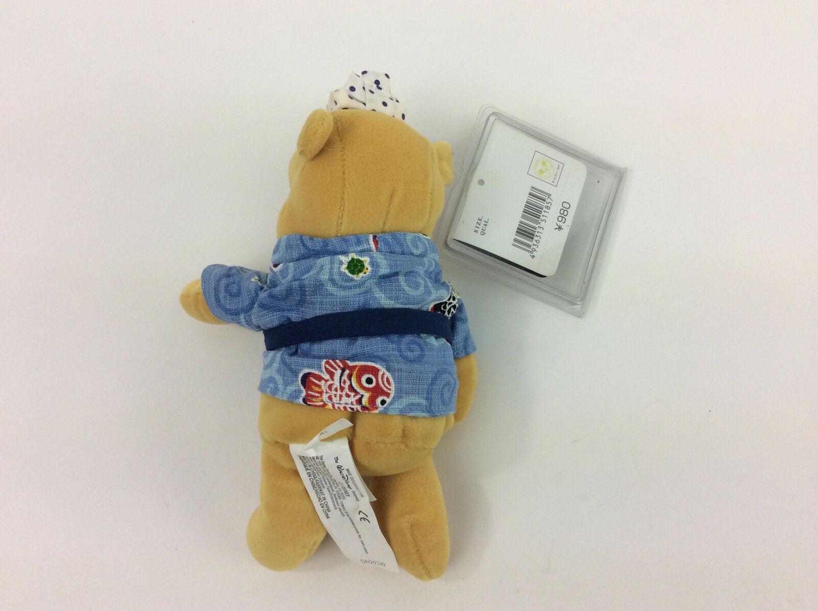 "Winnie The Pooh Japanese Kimono Blue Plush Bean Bag 7"" Disney NEW"