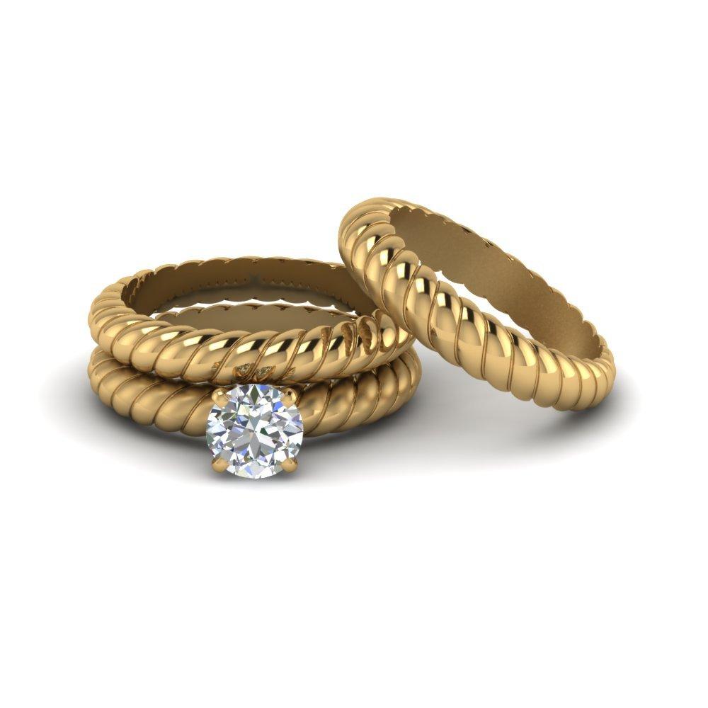 Rope Style White Diamond Womens Anniversary Ring 3Pc Set Solid 18k Yellow Gold