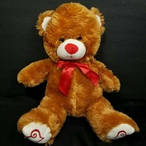 "Valentine Day Brown Teddy Bear Red Heart Feet Nose  Plush Stuffed Animal Bow 15"" - $16.82"