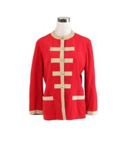 Red beige ULTRASUEDE military style vintage jacket 10 L - $25.00