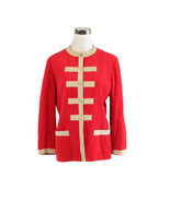 Red beige ULTRASUEDE military style vintage jacket 10 L - $25.00
