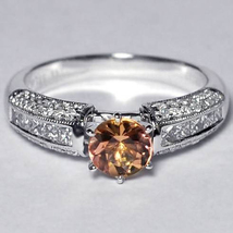 Natural Imperial Topaz Diamond Solitaire Statement Ring Women 14K White ... - $1,690.00