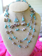 PASTEL BLUE AND PINK TURQUOISE BEADED MULTISTRAND CORDED NUGGET NECKLACE - $9.79