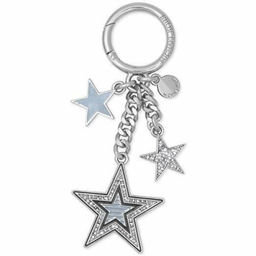 NWT Michael Kors Women's Shooting Star Rhinestone Fashion Keychain, Silver