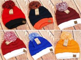 CC Beanie Two-Tone Solid Beanie Hat Cap w/ Pom - UGA, Kentucky, Auburn, Clemson