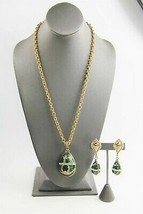 VINTAGE ESTATE Jewelry GREEN GUILLOCHE ENAMEL IMPERIAL EGG SET NECKLACE ... - $125.00