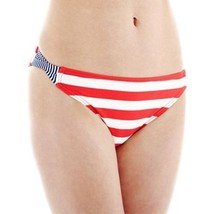 Arizona Striped Patriotic Side-Cross Hipster Swim Bottoms Size L New Msrp $28.00 - $9.99