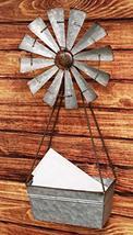 Ebros Vintage Galvanized Metal Irrigation Windmill Wall Hanging Basket P... - €42,64 EUR