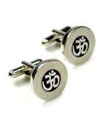 OM CUFFLINKS Ohm Aum Symbol Hindu Yoga NEW w GIFT BAG Pair Silver Tone - $9.95