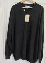 TURNBURY MEN'S SWEATER 100% CASHMERE 3X MADE IN MADAGASCAR V-NECK CHARCO... - $249.35