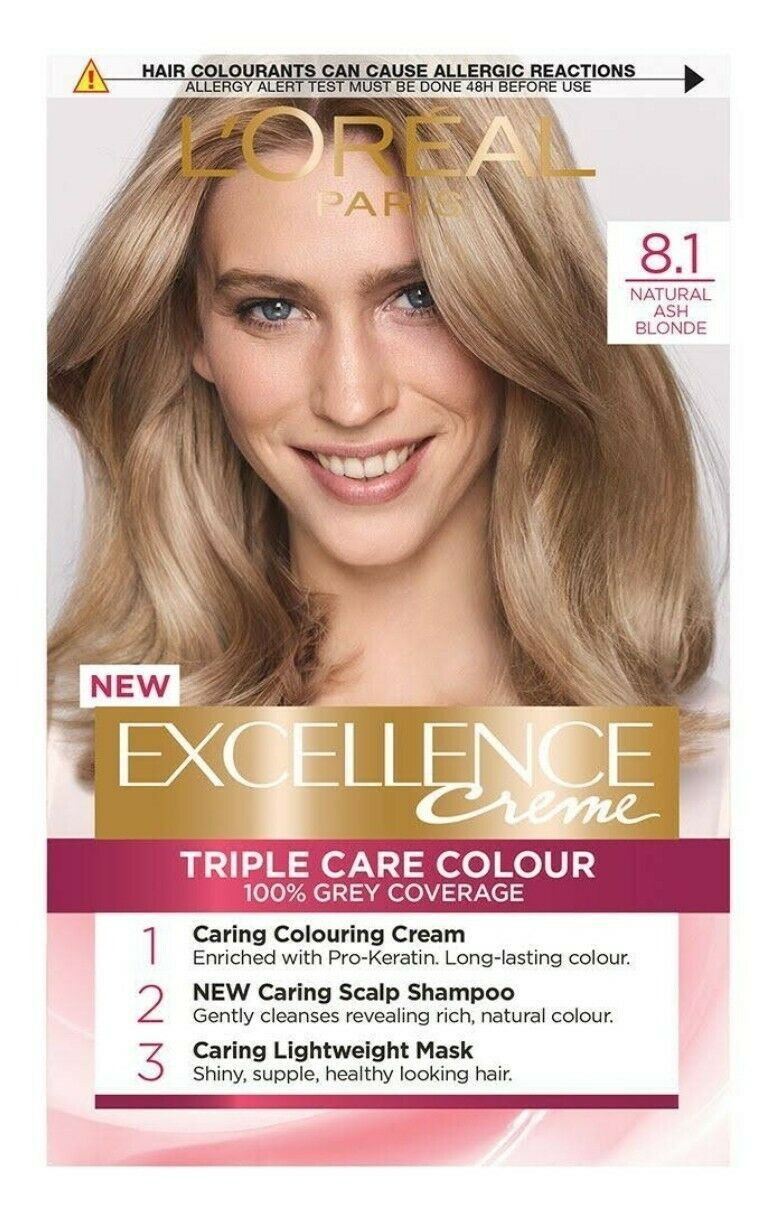 L'Oreal Excellence NATURAL ASH BLONDE Permanent Hair Dye Colour GREY COVERAGE - $17.53
