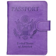 GDTK Leather Passport Holder Cover Case RFID Blocking Travel Wallet Purple - $11.15