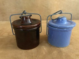 "3"" storage mini crocks metal lid holder clip blue brown locking wire lid... - $24.26"