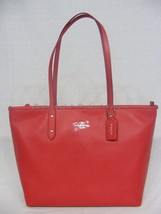 NWT! Coach 37155M City Zip Tote In Pebble Leather in True Red & Silver H... - $219.00