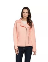Isaac Mizrahi Live! Quilted Knit Motorcycle Jacket Color Malibu Peach Si... - $10.76