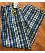Psycho Bunny Plaid Blue Lounge Sleep Pants Mens Large L - New - $22.80