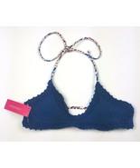 Xhilaration Women Size Small Bikini Top Blue Crocheted Front  NWT - $9.49