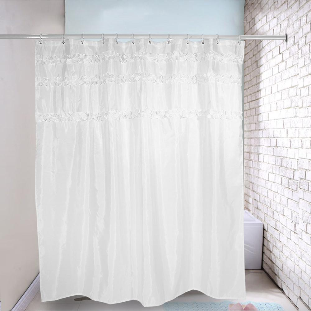 2017 New Fashion Plain Pattern Mildew Resistant Waterproof Shower Curtain With P