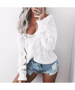 Sexy Women Sweater 2017 Autumn V Neck Long Sleeve Loose Casual Pullovers... - $27.44