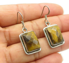 925 Sterling Silver - Vintage Faceted Tiger's Eye Square Dangle Earrings... - $30.12