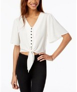 GYPSIES & MOONDUST White Short Angel Sleeve Buttoned Tie-Front Camp Shir... - $5.38