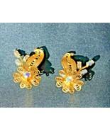 Vintage Clip On Earrings Flower Filigree Blue Aurora Borealis Rhinestone - $24.95