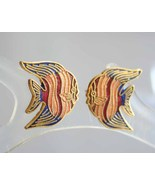 Elegant Cloisonne Angel Fish Pierced Earrings 1970s vintage - $9.95