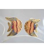 Elegant Cloisonne Angel Fish Pierced Earrings 1970s vintage - $9.95