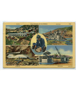 Gold Mining in California Multi View linen postcard - $6.00