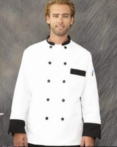 Chef Designs KT74BT3 White Garnish Chef Coat Jacket Plastic Buttons Medium New