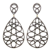 Dazzling Victorian Inspr. 5.50Ctw. Rose Cut Diamond Silver Earrings - $582.46