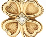 Four leaf clover with hearts Unisex 14kt Yellow Gold Charm