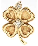 Four leaf clover with hearts Unisex 14kt Yellow Gold Charm - $499.00
