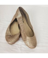 LOWER EAST SIDE Womens Glitter Ballet Gold Flats Shoes Size US 5.5 5 1/2 - $22.16