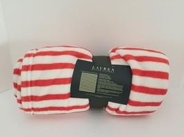 "Ralph Lauren Plush Throw Blanket (60""x70"") RED/WHITE STRIPE - NEW - $960,68 MXN"