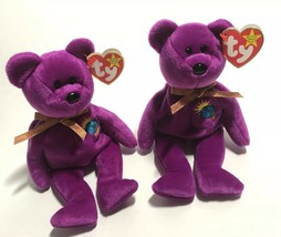 TY Beanie Babies 1999 Millennium Bear Collectibles Collection Gift Girls 2 Pcs - $1,331.55