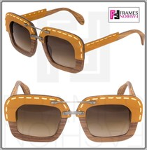 PRADA RAW Nut Canaletto Brown Leather Brown Wood Sunglasses Square PR26RS 26R - $296.01