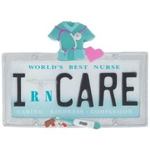 License Plate RN Scrubs Nurse Resin Christmas Ornament NWT Stethoscope - $11.38