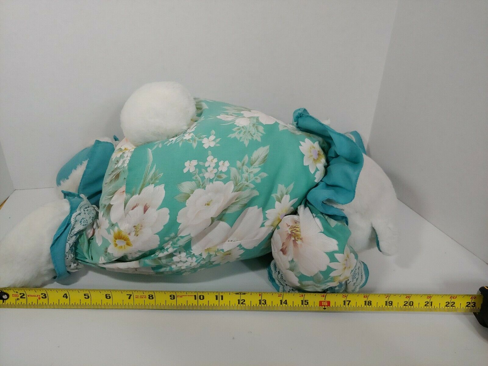 Enesco Plush white teddy bear green floral flowers outfit lace collar pink nose image 10