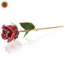 WR Red Laquered 24K Gold Dipped Long Stem Genuine Red Rose Gift Box Vale... - $38.88