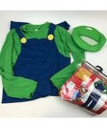 SUPER MARIO Brother LUIGI Green Jumpsuit w/ Hat COSTUME Adult Sz Large 4... - $24.75